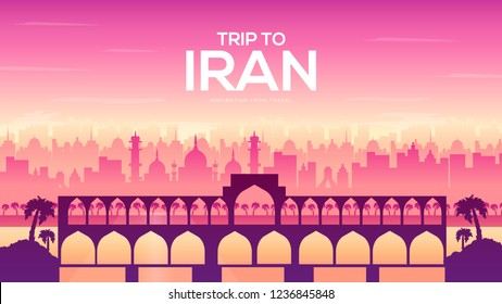 Bridge of Iran brochure cards set. Monument template of flyear, booklet, magazines, poster, book cover, banner. Invitation concept. Layout modern