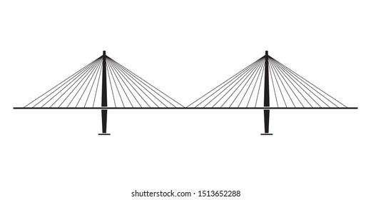 Bridge isolated on white background. Side view. Black silhouette of modern bridge. Vector illustration.