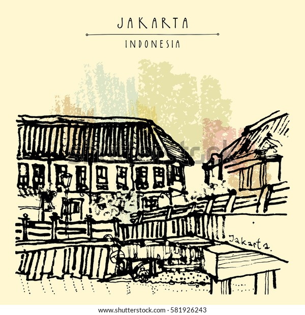 Bridge in Kota, Jakarta, Java island, Indonesia, Asia. Old time buildings, Dutch colonial architecture. Travel sketch. Hand-drawn vintage book illustration, greeting card, postcard or poster in vector