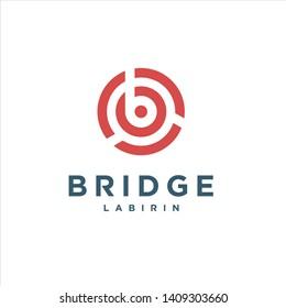 bridge labirin with Initial B logo design inspiration