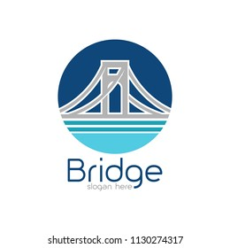 Bridge logo design emblem template. City landmark building icon vector illustration