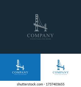 Bridge Logo design template. Simple and clean flat design of bridge vector template. bridge logo for business.