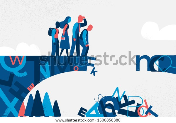 A bridge made of letters with people watching the letters fall down. Concept of modern society losing its cultural heritage. Vector illustration
