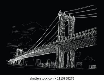 Bridge, New York. USA. Hand drawn. Vector illustration.