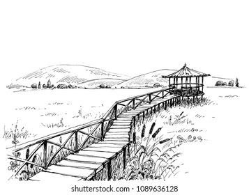 Bridge over meadow to the watchtower sketch. Artistic black and white wallpaper