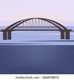 Bridge over the river. An architectural structure of a city pedestrian or transport bridge. Sunrise or sunset in the background. Vector flat style illustration.