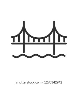 bridge over water. linear icon. Line with editable stroke