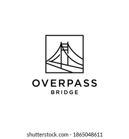 bridge overpass flyover logo vector icon illustration line outline monoline, technology and construction business brand design