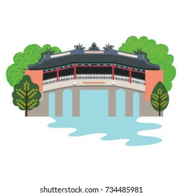 bridge pagoda in illustration, Chua Cau pagoda in Hoi An - Vietnam