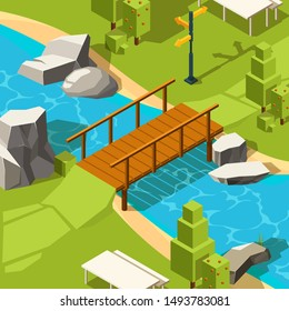 Bridge in park. Water river beautiful place with bridge in grass park for walking vector isometric
