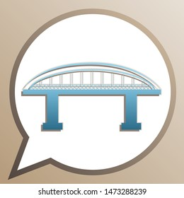 Bridge sign. Bright cerulean icon in white speech balloon at pale taupe background. Illustration.