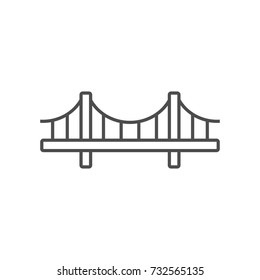 Bridge simple icon outline silhouette isolated on white background. Ground transportation. Vector illustration