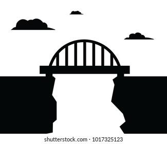 bridge simple illustration, black and white
