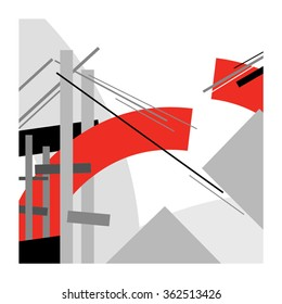 Bridge under construction / Abstract geometric vector illustration / Suprematism art style