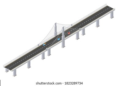 The bridge of urban infrastructure is isometric for games, applications of inspiration and creativity. City transport organization objects in 3D dimensional form