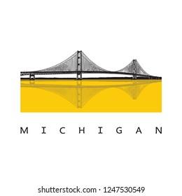 Bridge - vector graphic illustration. Beautiful famous modern architecture - long steel suspension bridge located in the Great Lakes region in North America, Mackinac, Michigan.