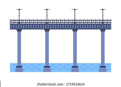 Bridge vector illustration. City architecture element with lights, freeway and bridge-construction across the river with carriageway isolated and lanterns on colourful landscape background.
