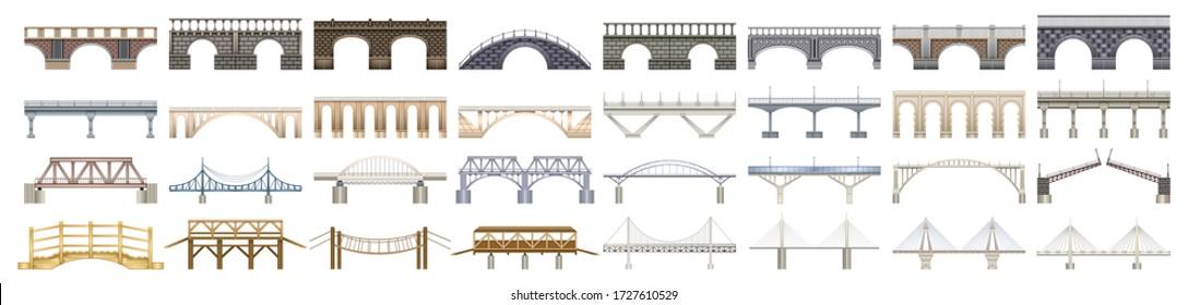 Bridge vector illustration on white background. Vector realistic set icon river construction. Isolated realistic set icon bridge.