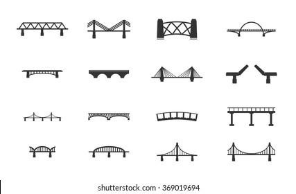 Bridges black silhouette simply icons for web