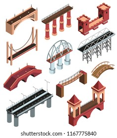 Bridges details isometric elements collection with modern metallic constructions ancient wooden stone viaducts spans isolated vector illustration