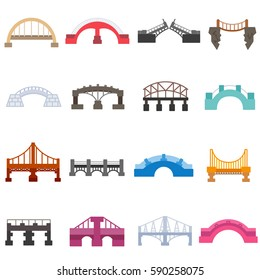 Bridges icons set. urban and suspension structure, isolated vector illustration