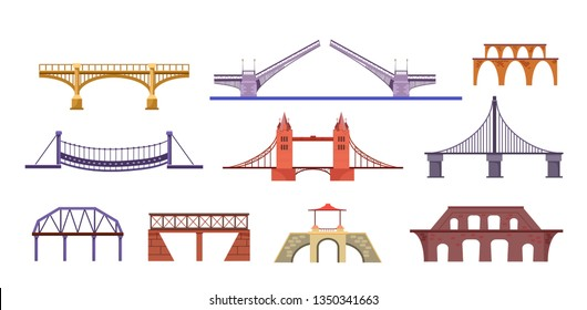 Bridges illustration set. Construction, sight, landmark. Architecture concept. Can be used for topics like city, river, road, travel
