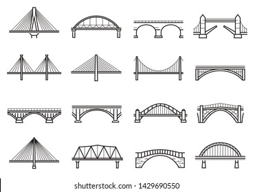 Bridges line icon set, city architecture construction. Structure built over a railway, river, road. Vector line art bridges illustration isolated on white background