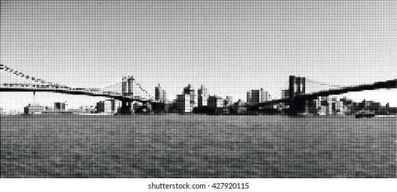 Bridges in New York. View at Brooklyn. Panorama. Halftone