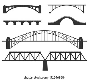 Bridges silhouette. Set of vector illustrations isolated on white. Various constructions of bridges - stone and metal girders. Urban architecture.