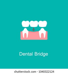 Bridges teeth flat icon. Dental concept. Dental Bridge Crown Prosthetic Dentistry Vector Illustration. Medicine symbol for info graphics, websites and print media. Clinic icon.