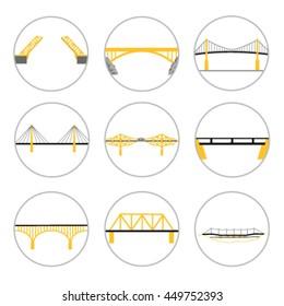 Bridges types - vector icons