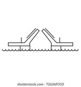 bridges,drawbridges vector line icon, sign, illustration on background, editable strokes