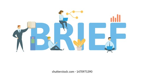 BRIEF. Concept with people, letters and icons. Colored flat vector illustration. Isolated on white background.