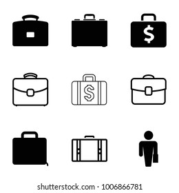 Brief icons. set of 9 editable filled and outline brief icons such as man with case, case, suitcase