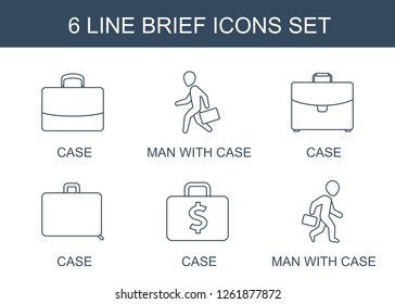 brief icons. Trendy 6 brief icons. Contain icons such as case, man with case. brief icon for web and mobile.