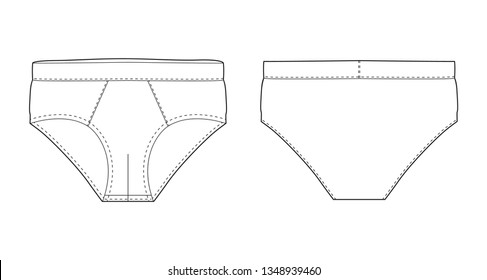Brief pants underwear isolated technical sketch. Vector illustration of men underpants. Man underwear. Front and back views.