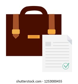 Briefcase business vector illustration in flat style. Briefcase with diploma icon isolated