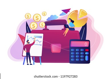 Briefcase, calculator and accountants working with graphs and laptop. Accounting, financial analysis and planning concept on white background. Bright vibrant violet vector isolated illustration