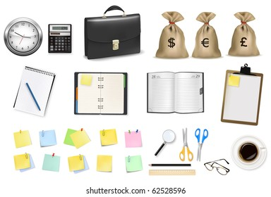 A briefcase, calculator, notebooks and some office and business supplies. Vector.