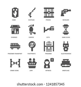 Briefcase, Corpse, Hand, Shotgun, Electroshock weapon, Prisoner, Footprints, Witness icon 16 set EPS 10 vector format. Icons optimized for both large and small resolutions.