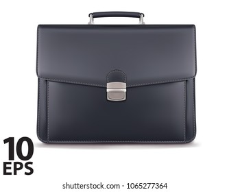 Briefcase for documents isolated on white. Realistic vector 3d illustration