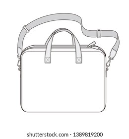 Briefcase with double slider zipper, laptop bag with detachable shoulder strap, vector illustration sketch template isolated on white background