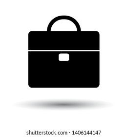 Briefcase Icon. Black on White Background With Shadow. Vector Illustration.