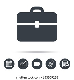 Briefcase icon. Diplomat handbag symbol. Business case sign. Calendar, chart and checklist signs. Video camera and attach clip web icons. Vector