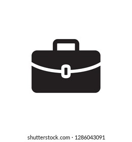 Briefcase Icon In Flat Style Vector For Apps, UI, Websites. Black Icon Vector Illustration.