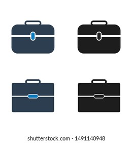 Briefcase icon set. Flat style vector EPS.