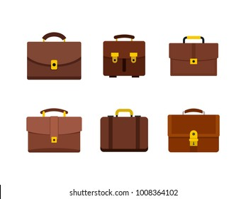Briefcase icon set. Flat set of briefcase vector icons for web design isolated on white background