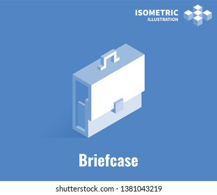 Briefcase icon. Vector 3D illustration isolated on blue background.