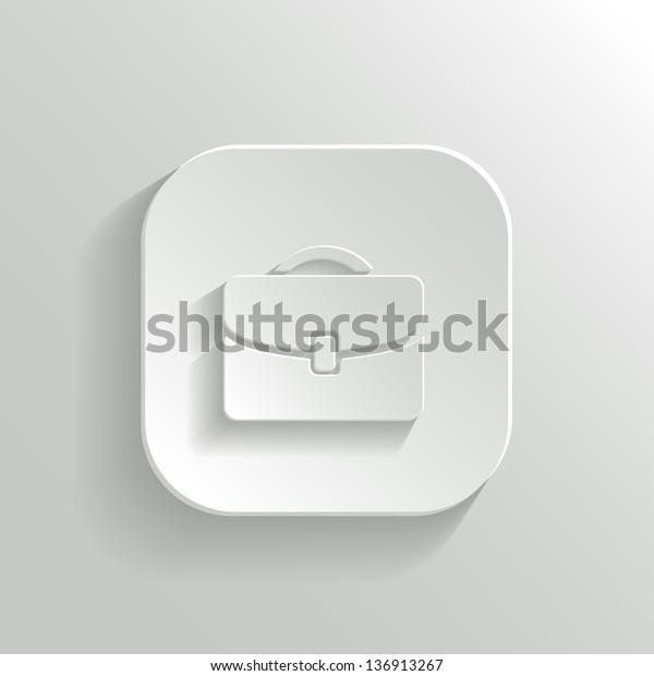 Briefcase icon - vector white app button with shadow