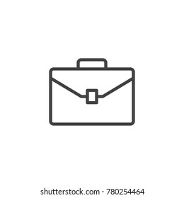 Briefcase line icon, outline vector sign, linear style pictogram isolated on white. Suitcase, portfolio symbol, logo illustration. Editable stroke